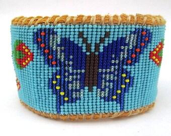 Native American Inspired Beaded Blue Butterfly on Deer Hide