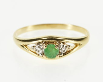 10K Three Stone Emerald Diamond Accented Ring Size 6.25 Yellow Gold