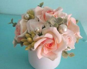 Bouquet floral Peach rose arrangement Centerpiece Mini bouquet Mom's gift Birthday gift Cream Ivory flower Girls room decor