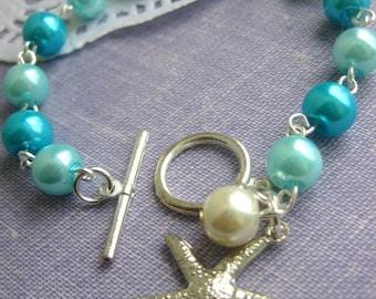 SPRING SALE Starfish, turquoise, destination wedding, glass pearls bracelet