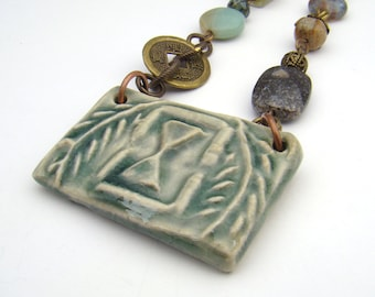 Memento Mori necklace with green ceramic pendant, brass chain, with earrings