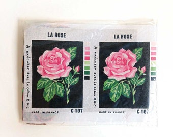 Vintage Cross Stitch Kit. Roses Embroidery Tapestry. Large Unused Needlepoint Canvas and DMC Thread. C 107 New Old Stock Made in France.