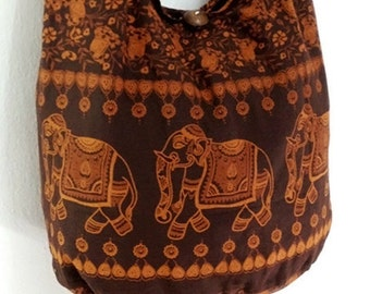 Women bag Handbags Cotton Elephant bag Hippie Hobo bag Boho bag Shoulder bag Sling bag Messenger bag Tote bag Crossbody Purse Brown