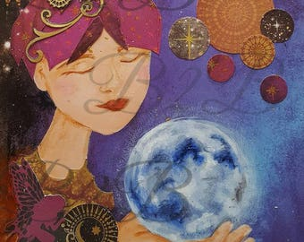 Moonlight Mystic| Art Print| Mixed-Media Art| Digital Download