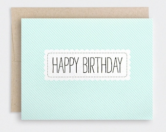 Mint Stripes Birthday Card - Pastel Striped Spring, Eco Friendly, Recycled