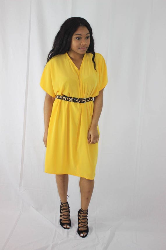 Bibi Yellow Slouch Draped Dress