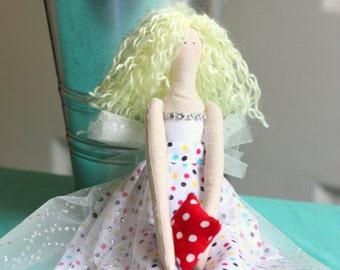 Tilda Style Doll- Handmade Cloth Doll - Sparkles
