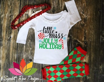 Christmas SVG, Little Miss Jolly Holiday, Candy Cane Swirl, Snowflakes cut file for silhouette cameo and cricut