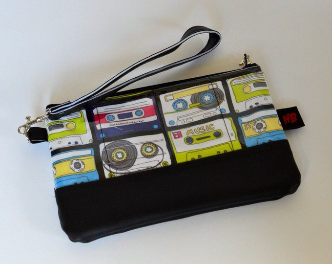 Zippered wristlet with strap in a retro cassette fabric (Bring the 80s back)