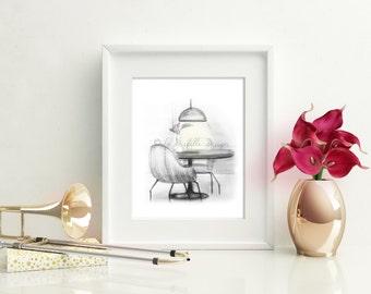 WALL ART Graphite Print  | Handmade Home Interior Sketch