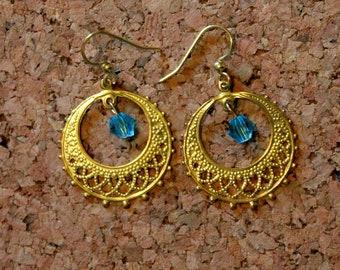 Gold FIligree with Blue Crystal Earrings, Dangle Earrings, Hook Earrings, Bell Art Designs 180