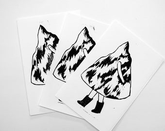 Move the mountain - linocut black and white