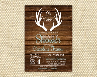 Oh Deer Baby Shower Invitation. Deer Baby Shower Invitation. Rustic Baby Shower Invitation. Boy Baby Shower. Girl Baby Shower. Deer Invite.