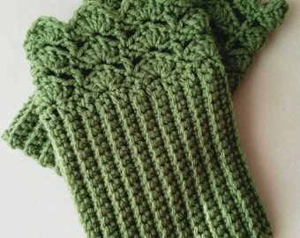 Green Crochet Boot Cuffs