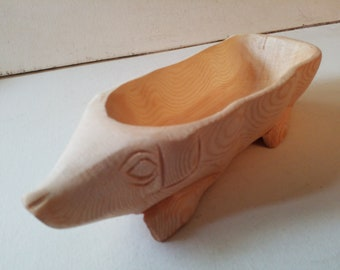 Carved wooden pig tray, small
