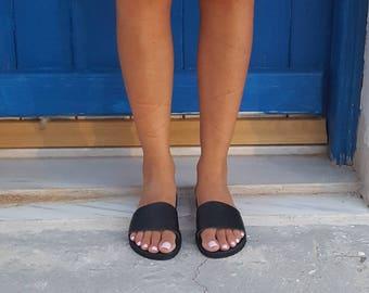 Black slides, Greek Sandals,Gladiator sandals,Mules, Slip on Sandals, Summer Flats, Leather Sandals, Roman Sandals, Women's Sandals, Flats,