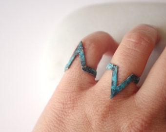 knuckle ring, chevron ring, midi ring, Pointy Ring, oxidised rustic ring, blue green ring