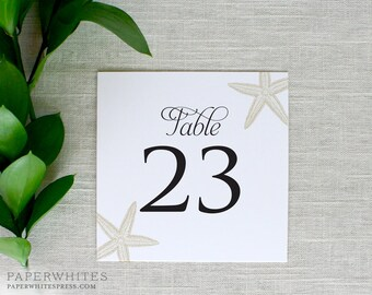 Starfish Wedding Table Numbers, Beach Wedding Table Number Cards, Destination Wedding, Printed Table Numbers, Tropical Table Numbers