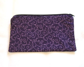 Royal Purple Swirls Fabric  Zipper Pouch / Pencil Case / Make Up Bag / Gadget Pouch