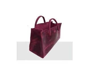 "Leather bag Funny tote bag shopping bag small ""transporter"" vintage design handmade"
