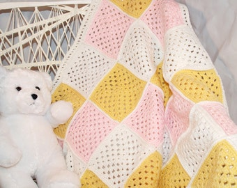Baby Afghan, Crocheted - Blanket, Granny Square, Pastels, Pink, Yellow, White, Soft, Ready To Ship