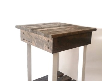 End Table/Handmade/Night Stand/Rustic Table/Side Table/Bedside Table/ Aged/Vintage/Wood/Stained/Painted/Custom/New Materials/Farmhouse