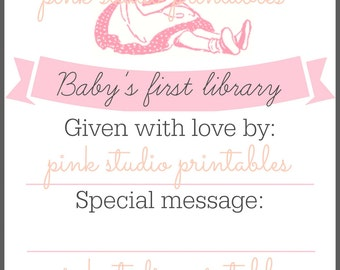Baby's First Library,  Printable book plate, baby shower gift, (digital download, printable)