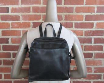 1990s Black Leather Backpack Organizer Bag Satchel Purse Tote Handbag 90s Vintage Tignanello