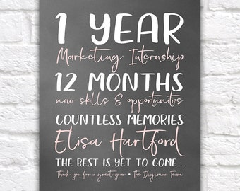 Intern Gift, Years at Company, Leaving Company Gift, New Career, Job, Opportunity, 1 Year Work Anniversary, Internship Gift, College   WF398
