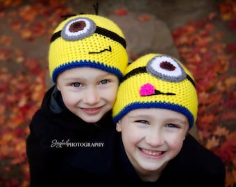 Crocheted Little Yellow Men Beanie 3t-adult