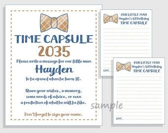 Diy First Birthday Time Capsule Printable Set For Boys Blue