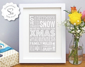 Personalised Xmas Family Surname Snowflake Home Art/Picture Gift/Keepsake/WordArt/Christmas Decoration Print or Framed Print - FREE SHIPPING