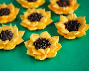Sunflower Topper- Made from Royal Icing- Cake Decorations (12)