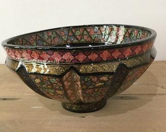 1980s handmade handpainted papier machie bowl