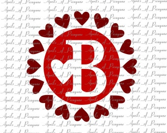 Heart Circle Single Monogram, Valentines, SVG, DXF, PDF