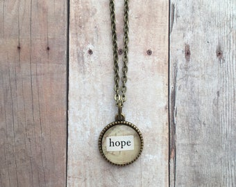 HOPE Necklace - word necklace, inspirational necklace, mantra necklace, typography necklace, repurposed vintage book jewelry