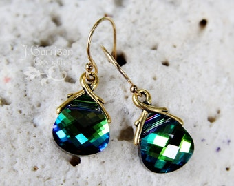 Aqua sphinx briolette earrings, gold filled - blue green color changing Swarovski crystals - free shipping in USA