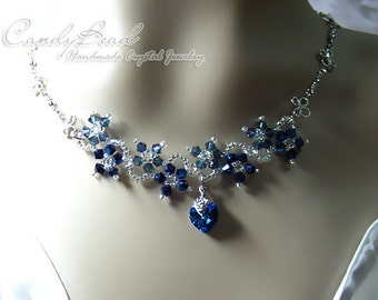 Crystal Necklace; Swarovski Necklace; Glass Necklace; Navy Blue Flower Dancing Swarovski Crystal Silver Necklace (N007-01)
