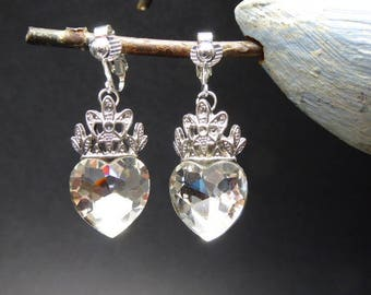 White Crystal heart earrings on silver clip
