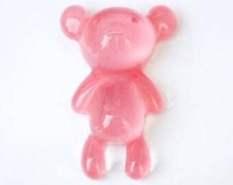 Cabochon resin bear pink translucent 35mm x 22mm
