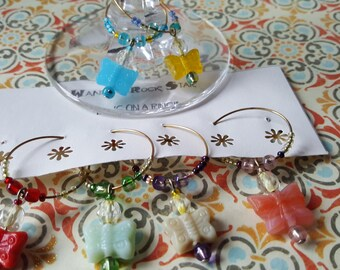 Limited Edition - Pastel BUTTERFLIES -- Wine CHARM SET