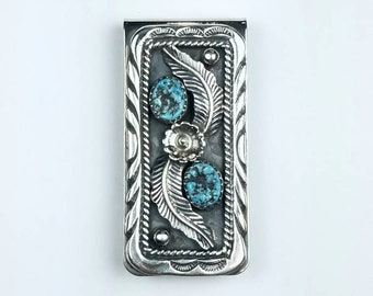 Native American Navajo handmade Sterling Silver Kingman Turquoise stone money clip