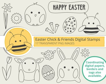 Easter Chick & Friends Digital Stamps - card making, paper craft, cute chick bunny lamb and bee with Easter eggs, carrots and flowers