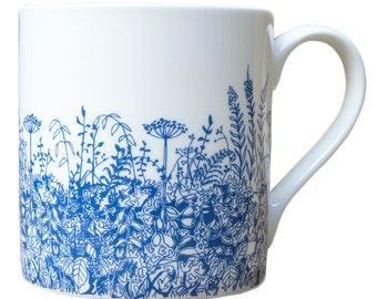 Bone China Blue Hedgerow Mug