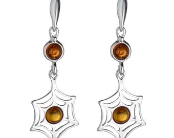 """Sterling Silver and Baltic Honey Amber Earrings """"Spiderweb"""""""