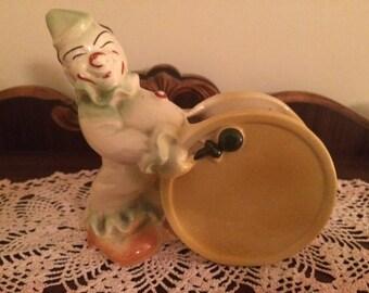 Vintage Shawnee Pottery Clown With Drum Planter