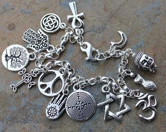 Peace Silver Bracelet - ancient religions coexist - peace sign, om, hamsa hand, tree of life, cross, ankh, goddess, Buddha, Star of David