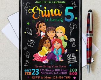 Dora The Explorer Invitation/Dora Birthday Party Card/Dora The Explorer Chalkboard/Dora Birthday Party/Dora Invitation/Dora Party