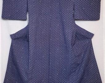 Women's vintage, cotton yukata - indigo and white faux shibori fans