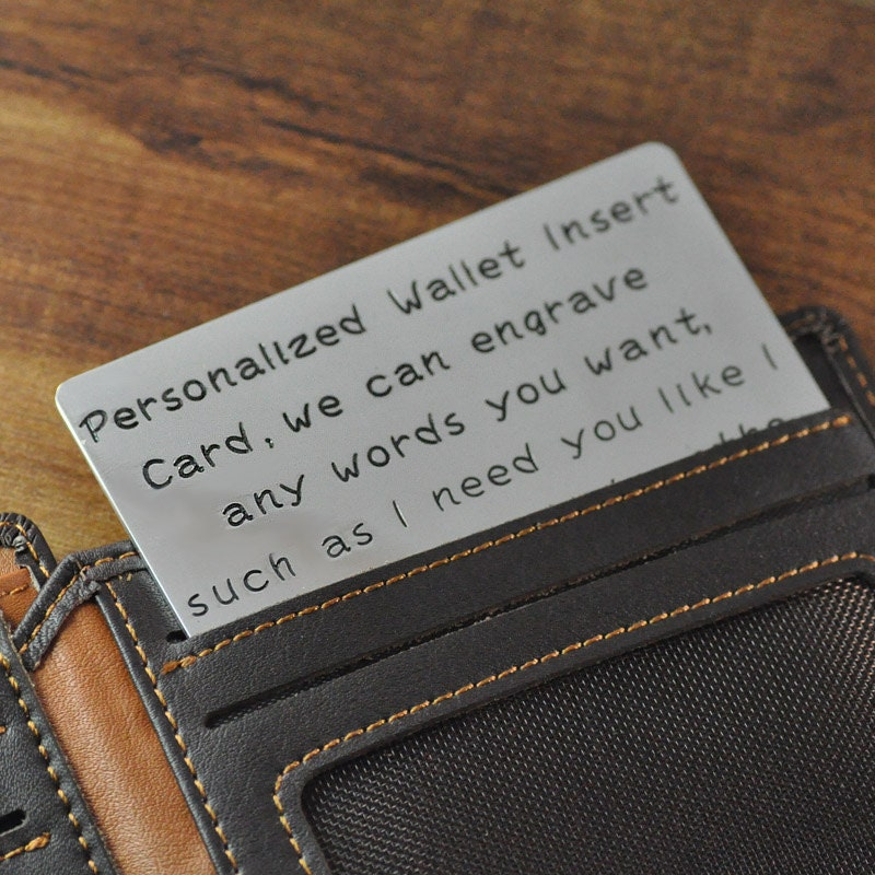 FREE Shipping- Personalized Wallet Insert Card, Custom men's card, hand stamp words text, Valentines gift for him, boyfriend, husband